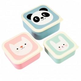 Lunch Boxes Set of 3 - Panda, Cat & Rabbit