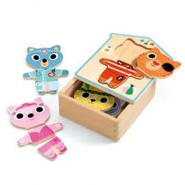 djeco Ξύλινο Παζλ - Ντύνω τα ζωάκια, ποιοτικα παιχνιδια για παιδια, παιδικα παιχνιδια, παιχνιδια για παιδια απο δυο ετων, βρεφικα παιχνιδια, μη τοξικα παιχνιδια, τα πρωτα μου παζλ