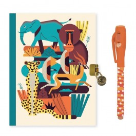 Djeco Ημερολόγιο με κλειδαριά και μαγικό μαρκαδόρο 'Ζώα Δάσους'