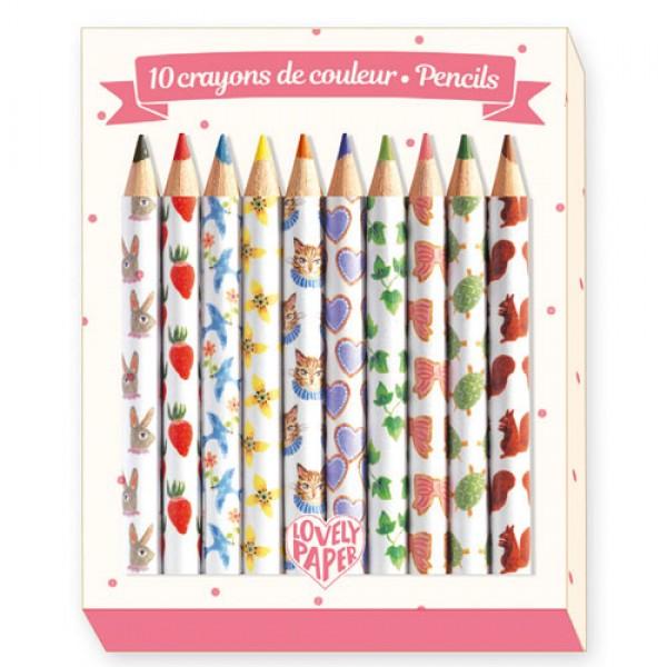 Djeco Pencils 10 Aiko mini coloured pencils
