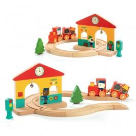 ξυλινα τρενακια, παιδικα τρενακια, τρενο, ξυλινο τρενο, παιχνιδια djeco