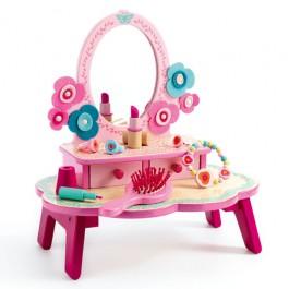 Djeco Ξύλινη Τουαλέτα Ομορφιάς - Flora Dressing, djeco, παιχνιδια ρολων για κοριτσια, ξυλινα παιχνιδια djeco, δωρα για κοριτισια, παιχνιιδα ανεμη, ποιοτικα παιχνιδια, τουαλετα ομορφιας, χριστουγεννιατικα δωρα για παιδια, δημιουργικη απασχοληση για παιδια