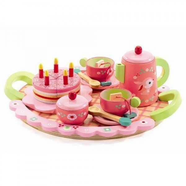 Djeco Roles play Game Tea Party - Lily Rose's, cow makes moo, kids, wooden toy, cow makes moo, role play, kids toys, wooden toys, party time, birthday cake, role playing, eco friendly kids toys
