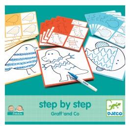 Djeco ζωγραφική βήμα-βήμα 'Ζωάκια με σχέδια', djeco, paixnidia djeco, δημιουργικη απασχοληση για παιδια