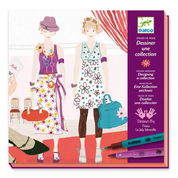 Djeco Felt tips - Girls Drawing a fashion show