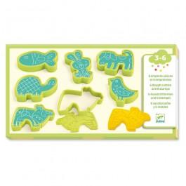 Djeco 6 Φόρμες με στάμπες για πλαστοζυμαράκι 'Κατοικίδια Ζωάκια'