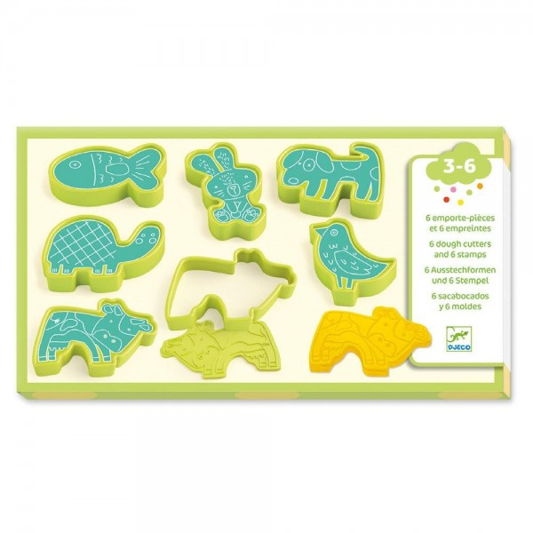 Djeco 3 to 6 years - Modelling 6 cookie cutters and 6 stamps pet animals