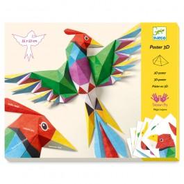 Djeco Κατασκευάζω με χαρτί τρισδιάστατα 'Πουλιά Αμαζονίου'