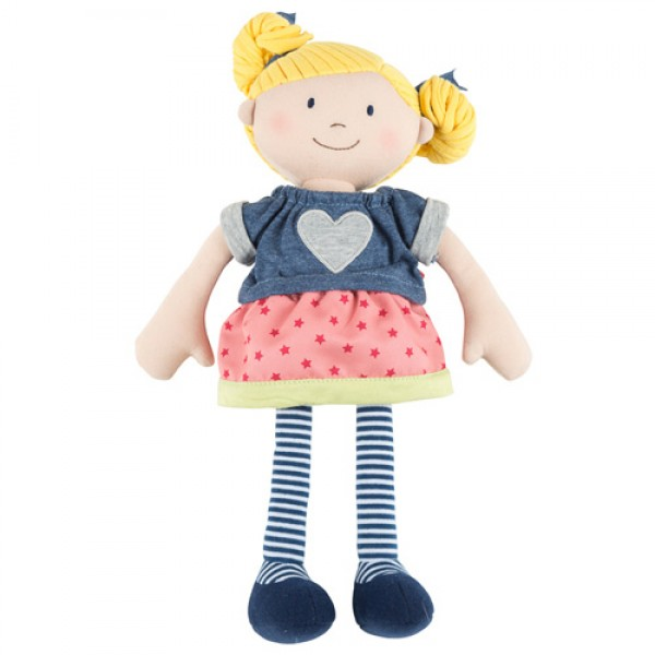 Sigikid Lovely rag doll with blonde pigtails