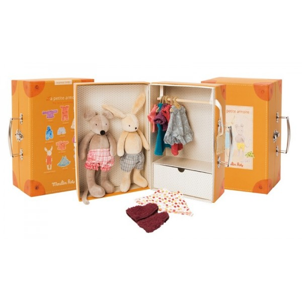 Little wardrobe suitcase, La grande famille Moulin Roty