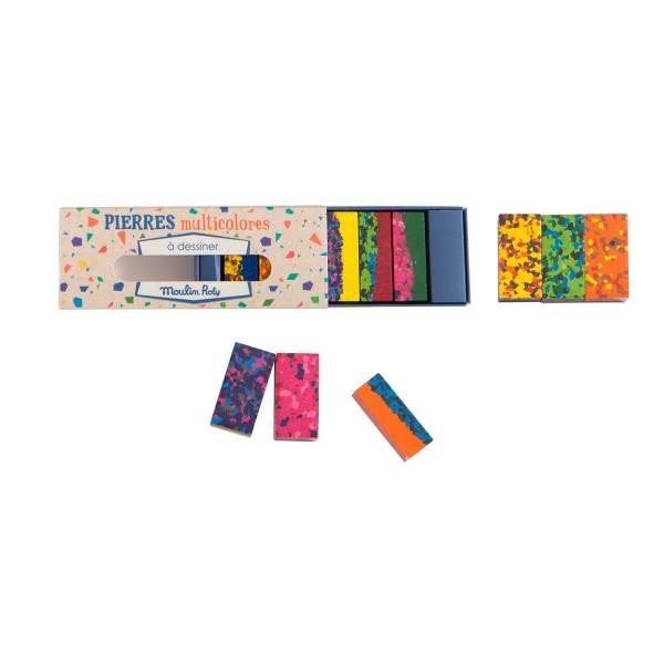 Box of 6 multi-coloured wax blocks Les petites merveilles Moulin Roty