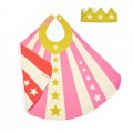 Pink Cape + Gold Crown Set