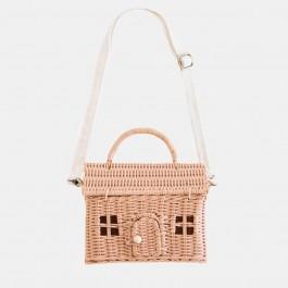 κουκλοσπιτα, ψαθινες τσαντες, τσαντες για κοριτσια, olli ella ψαθινη τσάντα - σπίτι,