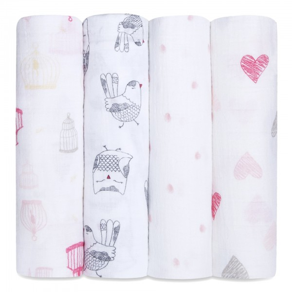 Aden + Anais classic swaddle set of 4 - lovebirds