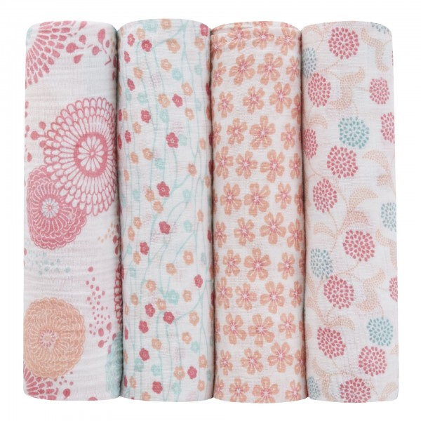 Aden + Anais classic swaddle set of 4 - global garden