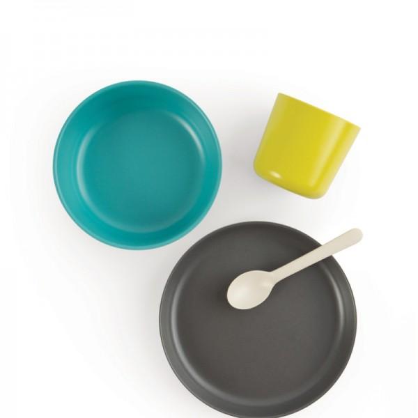 ekobo bamboo kid set - lemon, tomato, royal blue, food set, bamboo food set,