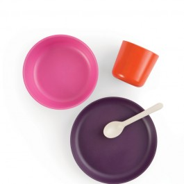ekobo bamboo kid set - Persimmon, Rose, Prune, food set, bamboo food set,