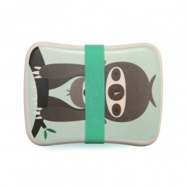 Petit Monkey Bamboo Lunchbox - Sloth Green, petit monkey, cow makes moo, lunch box, bamboo, snack box, eco friendly kids products,