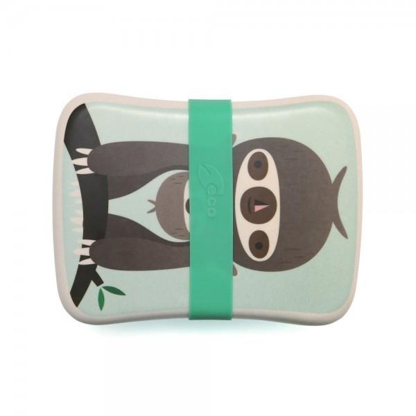 Petit Monkey Bamboo Lunchbox - Sloth Green, petit monkey, cow makes moo, lunch box, bamboo, snack box, eco friendly kids products,