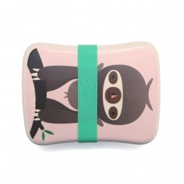 Petit Monkey Bamboo Lunchbox - Sloth Pink, petit monkey, cow makes moo, lunch box, bamboo, snack box, eco friendly kids products,