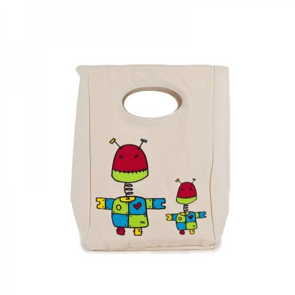 Fluf Organic Lunch Bag - Robot, eco friendly lunch bags, for the school