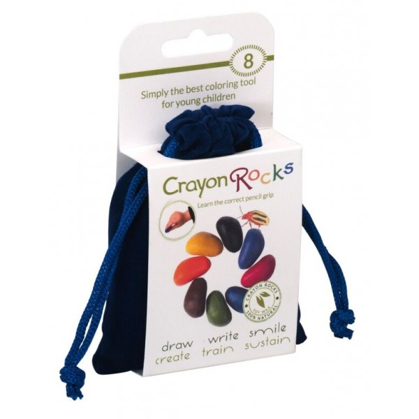 Crayon Rocks, 8 rocks - blue velvet bag