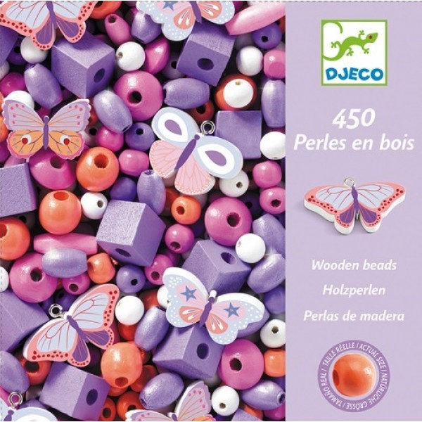 Djeco Wooden beads - Butterfly