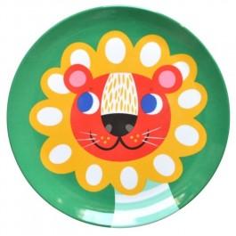 Petit Monkey Melamine Plate - Lion, petit monkey, cow makes moo, kids store, petit monkey greece,