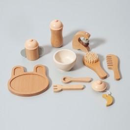 petit monkey ξύλινο παιχνιδι ρολων σετ ταισματος