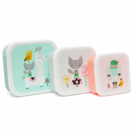 Petit Monkey Lunchbox set of 3 - Lama & Friends, petit monkey, eco friendly, lunch boxes, kids access