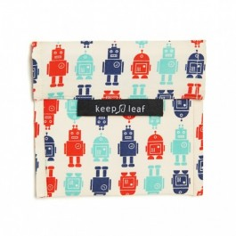 Keep Leaf Large Baggie - Robot, organic cotton, insulated lunch case, case for food,