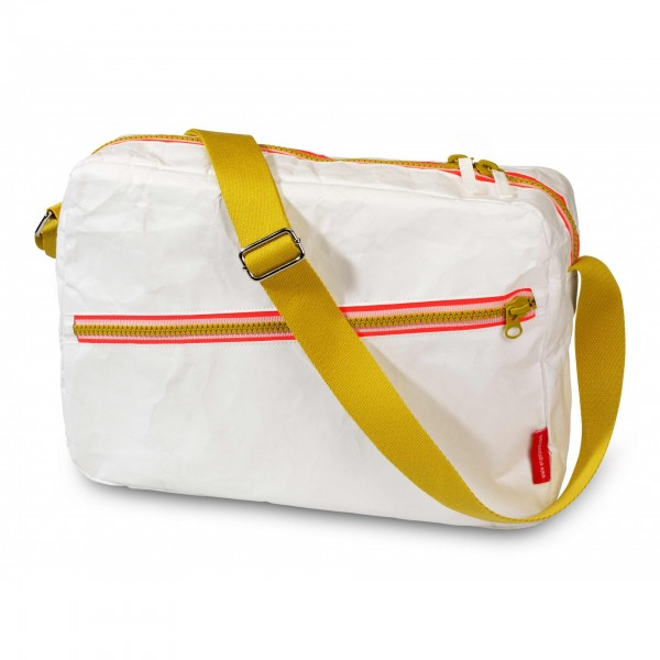 Engel Shoulder Bag - Zipper White, cow makes moo, eco friendly bags, recycled bags,