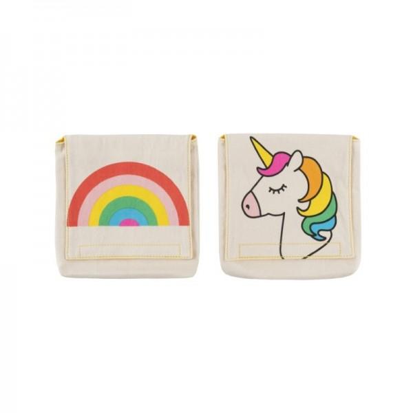 Fluf Organic Snack Packs set of 2 -   unicorn & rainbow, fluf, eco friendly lunch pots,