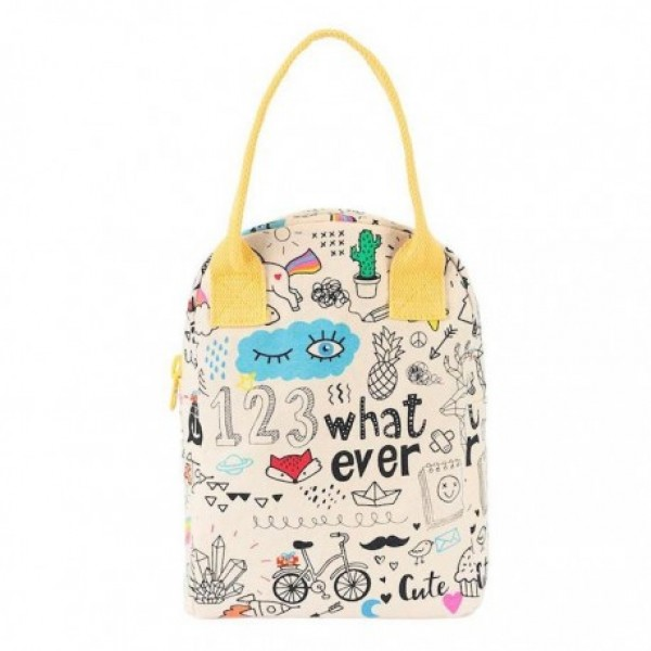 fluf Zipper Lunch Bag - whatever, eco friendly, kids accessories, lunch boxes, lunch bags, accessories for school,