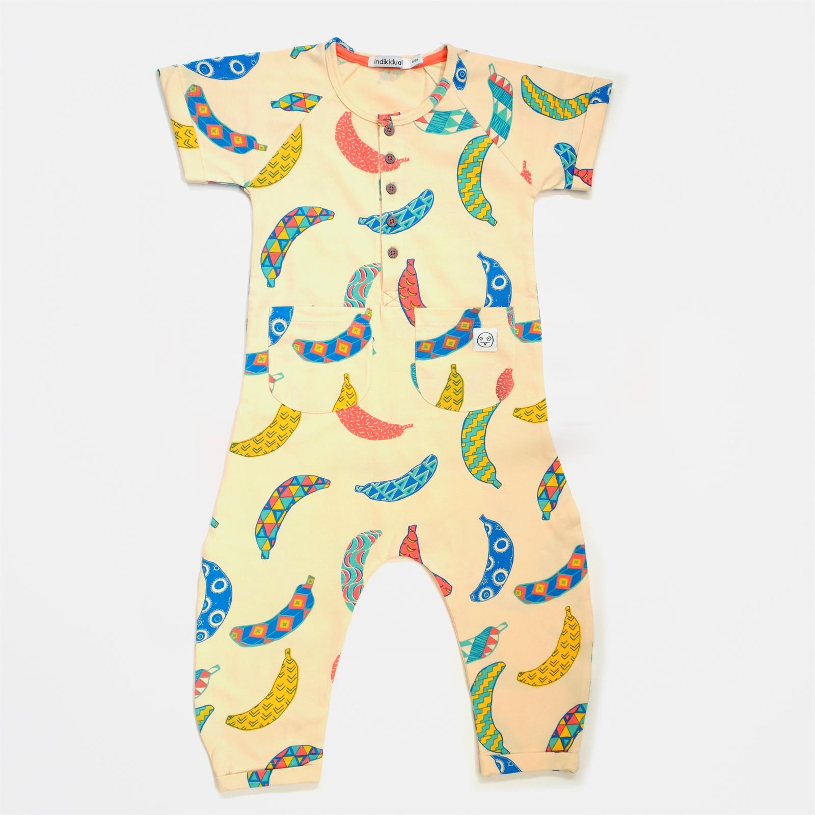 INDIKIDUAL Boys Organic Cotton Brown Banana Print Zip-Up Hoody